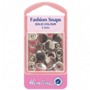 Hemline Silver Top Fashion Snaps - 11mm